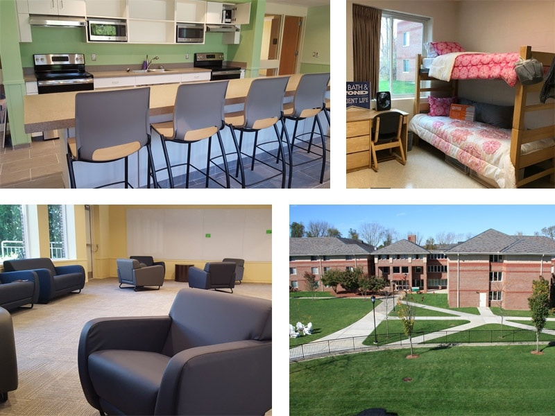 collage of the inside of shamie hall